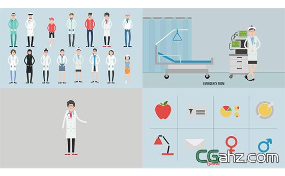 医疗保健介绍拼接平面动画元素包AE模板