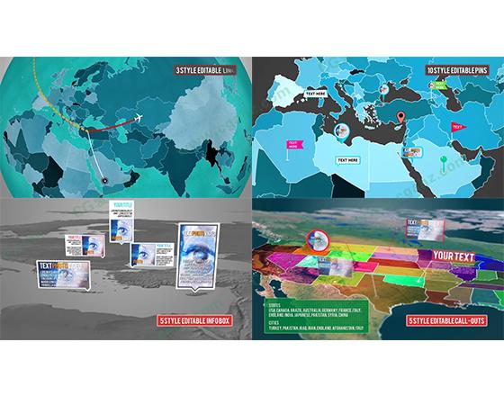 超级三维地图标记动画AE模板