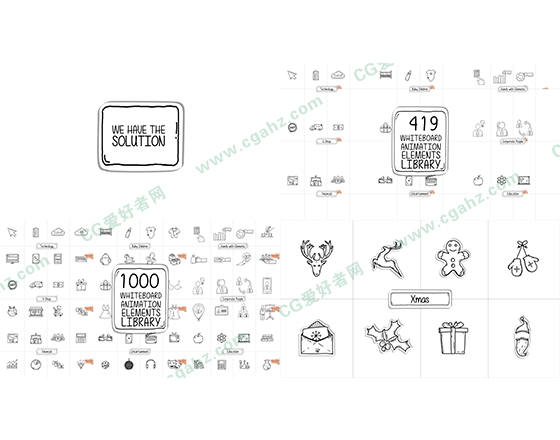 手绘图标LOGO标志图形元素AE模板