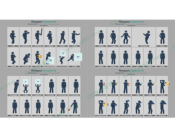 时尚的人物活动MG动画图形元素AE模板
