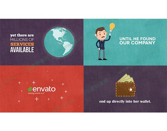 时尚的MG产品服务企业宣传图形元素AE模板