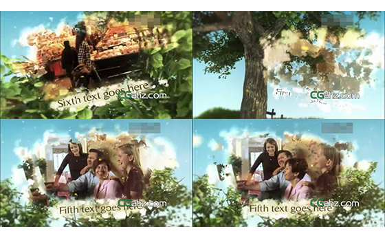 美轮美奂绿树摇曳内嵌动态视频展示AE模板