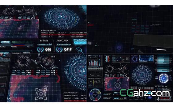显示器渲染智能未来技术效果揭示AE模板