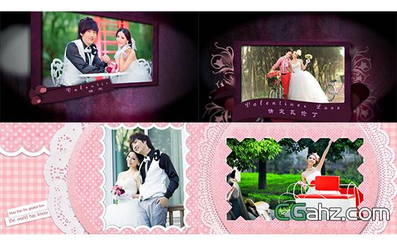 华伦丁婚礼电子相册婚庆开场片头AE模板