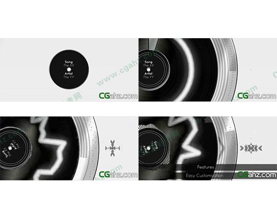 随音而动的音频波形曲线动画AE模板