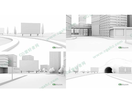 白色三维线描城市广告牌展示AE模板