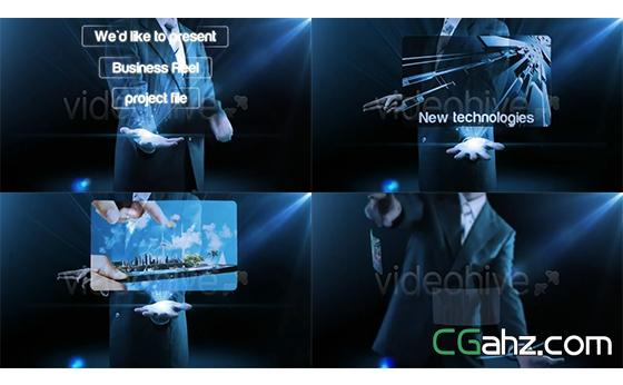 未来商务科技手势结合科幻特效AE模板