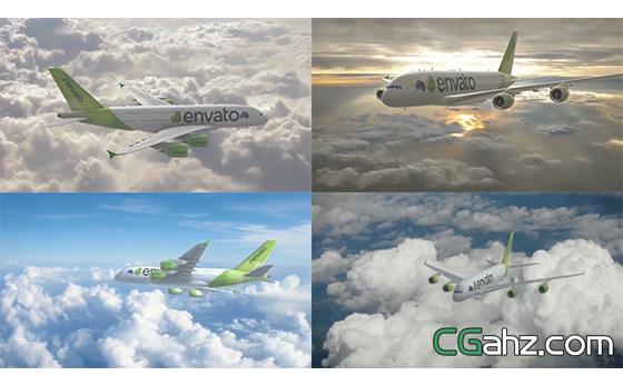 航空三维飞机展示LOGO标志AE模板