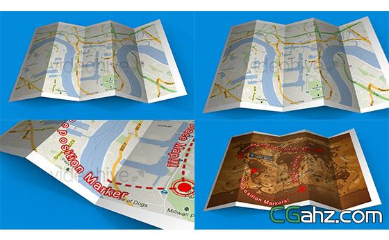 三维地图线路地区名称标记展示模板AE模板