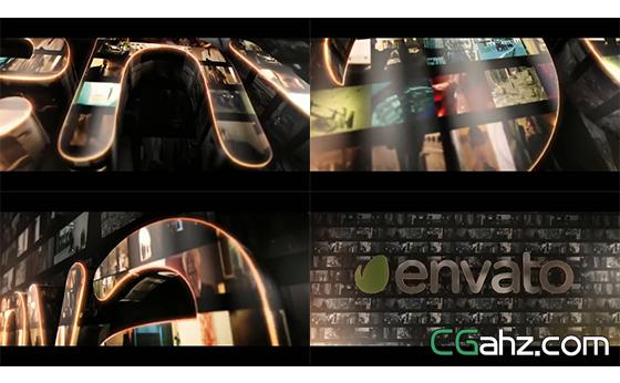复古电视屏质感LOGO标志3D文字展示AE模板