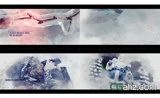 冰雪场景质感模糊遮罩切换幻灯片揭示AE模板