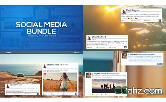 社交媒体网络滑动宣传图文字幕条揭示AE模板