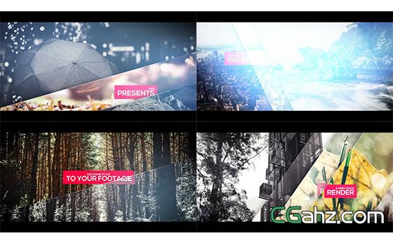 分割玻璃效果切换电影栏目幻灯片头AE模板