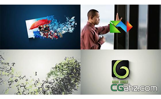 碎片粒子飞舞汇聚组合企业LOGO标志AE模板