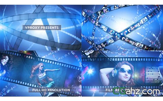 胶片卷轴旋转切换相片电影节宣传片