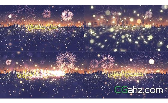烟花燃放圣诞节活动场景标题字幕AE模板
