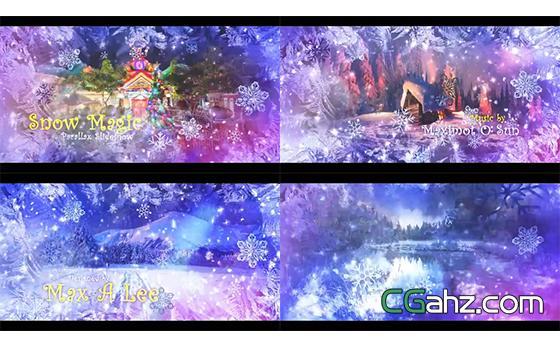 雪花渲染粒子划过切换场景幻灯片AE模板