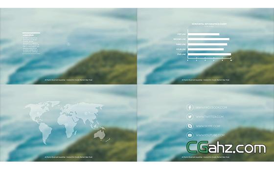 商务信息滑动变化切换演绎图表揭示AE模板