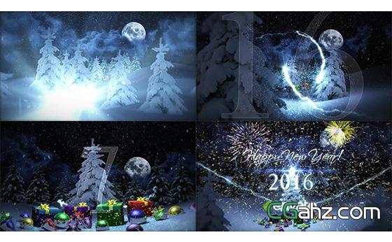 倒计时礼物弹出烟花新年喜庆开场片头AE模板