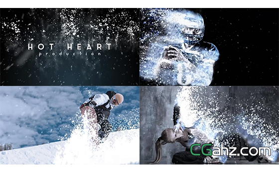 动感冰雪颗粒效果飞溅滑动切换图文展示AE模板