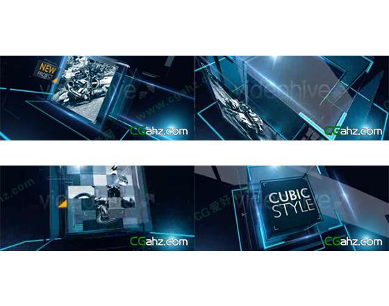 光线空间科技感立方体演示AE模板