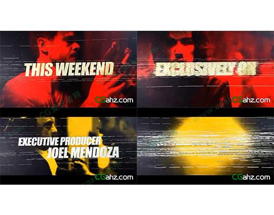线条拉丝效果的视频宣传预告片AE模板