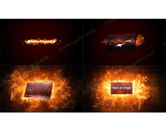 火热震撼的粒子火焰展示框AE模板