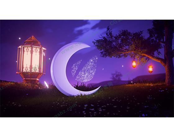 夜景吊灯光效星星渲染月亮AE揭示LOGO模板