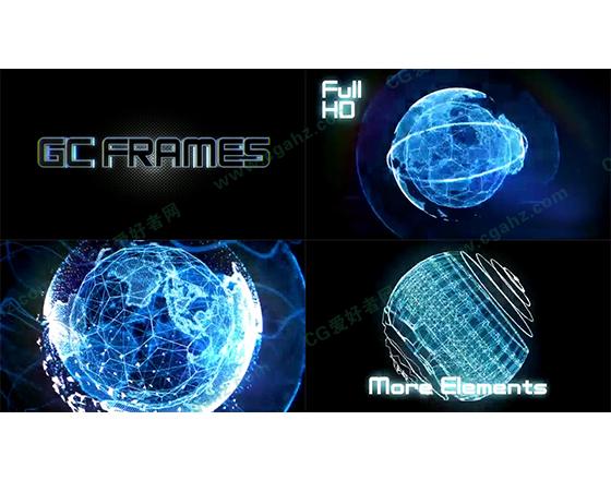 未来科技拼接闪烁三维粒子旋转AE模