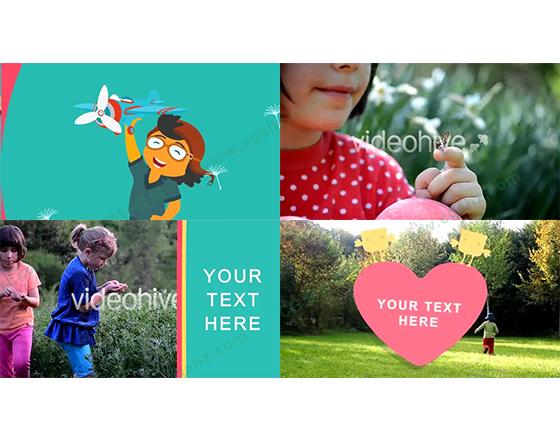 卡通特效兒童童裝展示廣告片頭AE模