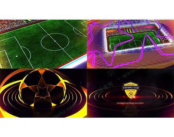 三维足球场地俱乐部Logo展示AE模板
