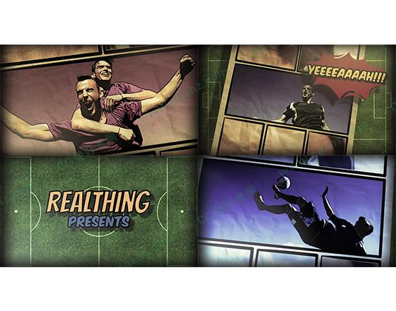 漫画风格足球赛事宣传预告动画AE模板