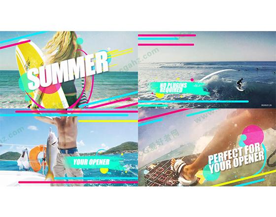 夏天青春活力旅游时尚海边视频开场AE模板