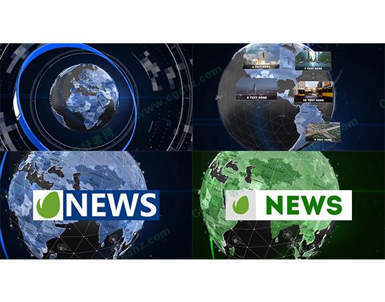 科技感地球财经体育栏目包装片头AE模板