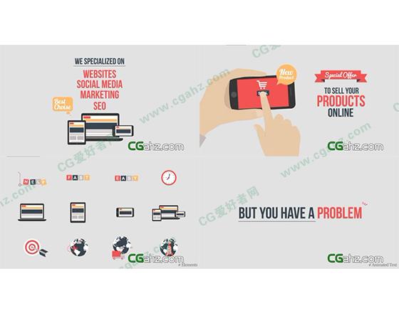 扁平化商务宣传,企业营销动画创建器AE模板