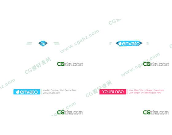 简洁干净的扭曲百叶窗logo揭示开场AE源文件