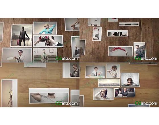 简洁干净的图片组合展示墙AE工程