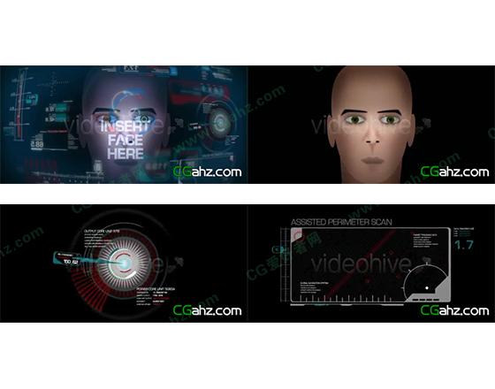 未来科技风屏幕显示界面元素动画AE