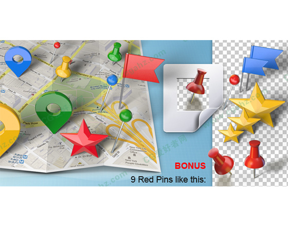 逼真三维地图生成图钉定位AE模板
