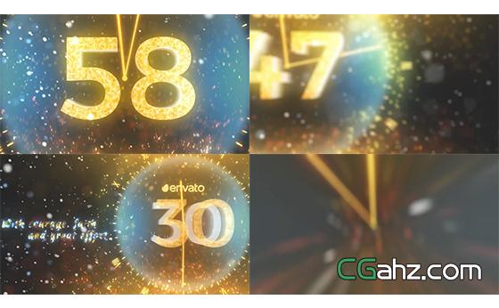 金色光效新年圣诞倒计时节日喜庆展