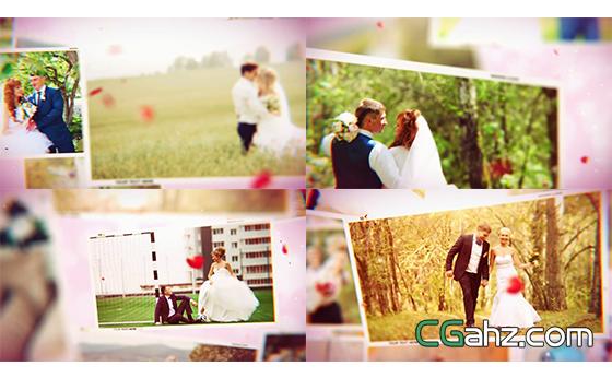 婚礼花瓣粒子渲染电子相册开场片头AE模板