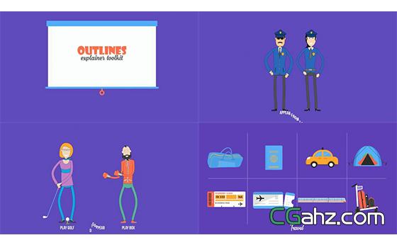 卡通趣味人物元素图标演绎动画片工具包AE模板