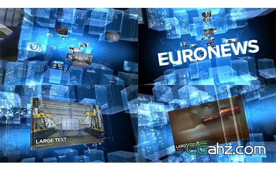 3D空间全息企业新闻视频墙开场AE模板