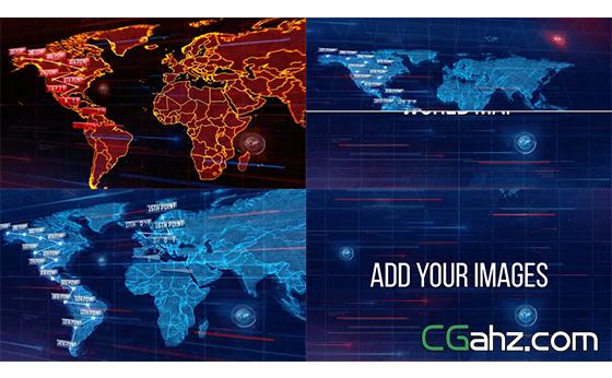 网络科技效果渲染分析世界地图标识AE模板