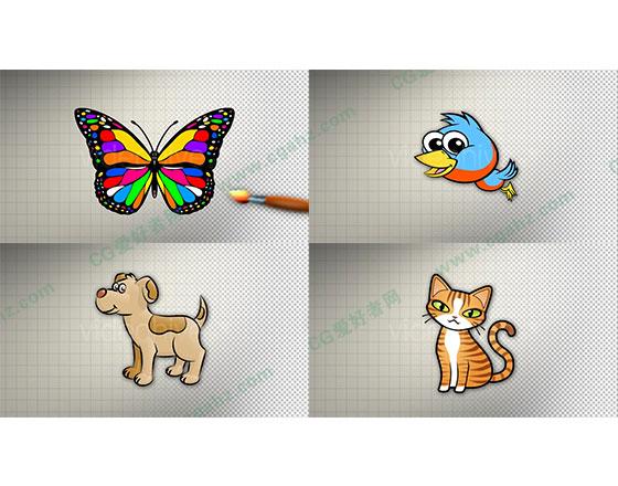 儿童卡通蝴蝶猫狗小动物绘画涂鸦动画AE模板