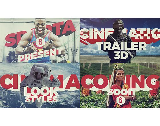 三维图片大字标题宣传片预告片开场片头AE模板