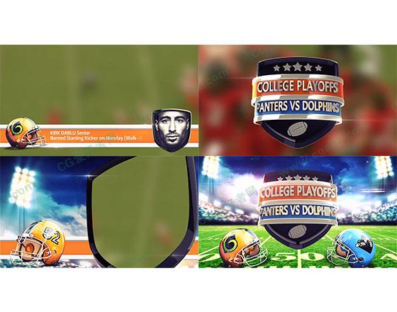 橄榄球体育赛事栏目包装宣传AE模板