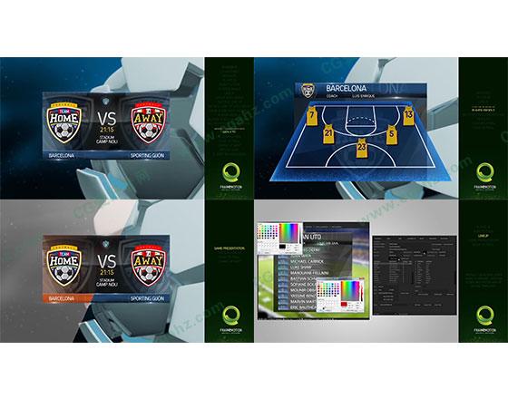足球体育赛事预告比分排名字幕条AE模板