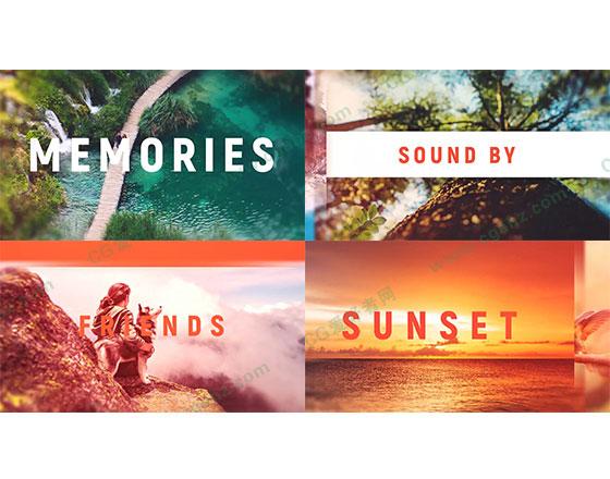 夏日旅游文字標題遮罩照片展示片頭