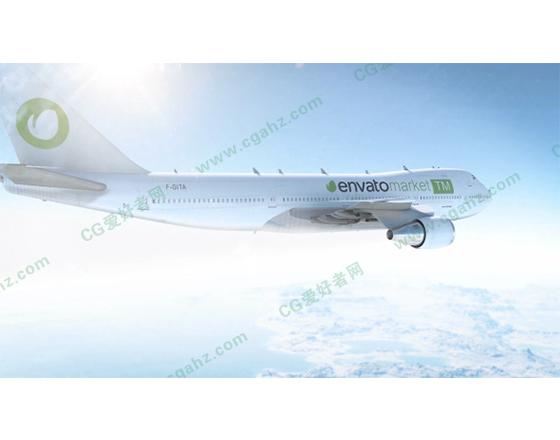 飞机在空中飞行的logo演绎片头展示AE模板